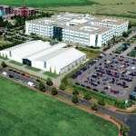 Gelände des Globana Airport Messe und Conference Center - Luftaufnahme mit Freifläche